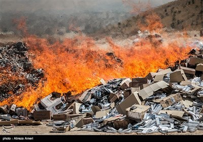 Substantial Quantity of Contraband Cigarettes Destroyed in Southern Iran