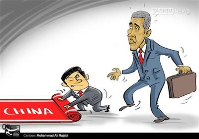 کاریکاتور/ ورود تحقیر آمیز اوباما به چین!!!