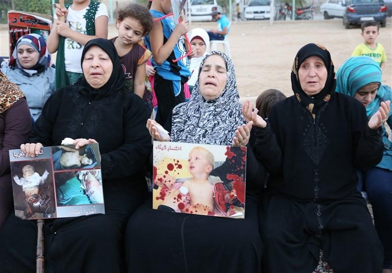أهالی الفوعة وکفریا المحاصرین یواصلون اعتصامهم فی السیدة زینب (ع) + مقابلات وصور
