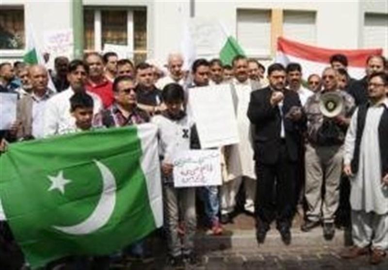 جرمنی : مقبوضہ کشمیر میں بھارتی مظالم کے خلاف احتجاج
