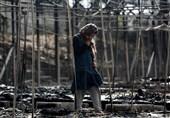 آتش سوزی در کمپ آوارگان در یونان