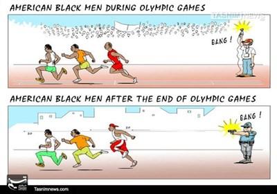 کاریکاتور/ سیاهپوستان آمریکایی بعد از المپیک!!!