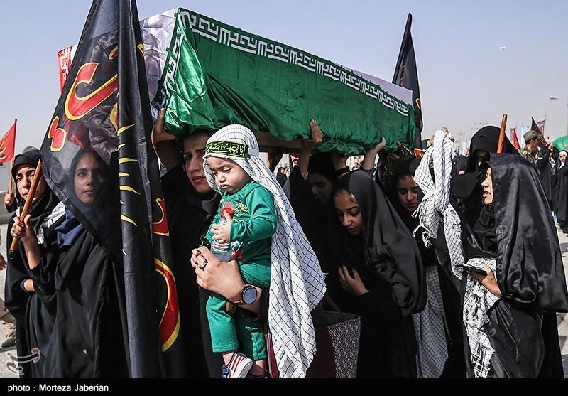 ورود پیکر مطهر 78 شهید دفاع مقدس از مرز شلمچه