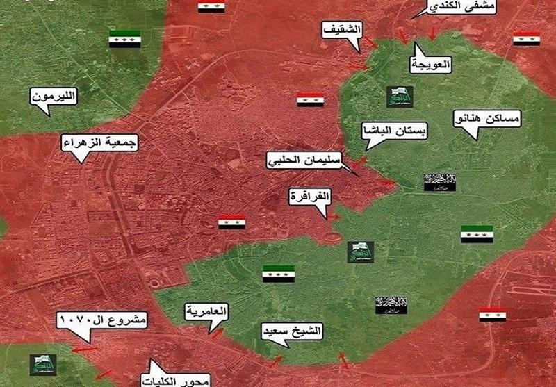 الجیش السوری یسیطر على حی سلیمان الحلبی ویتقدم فی بستان الباشا فی حلب