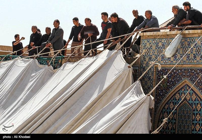 """بالصور.. نصب خیمة عزاء حسینیة """"هارونیة"""" فی أصفهان"""