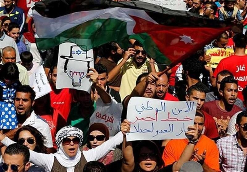 الأردنیون یتظاهرون ضد استیراد الغاز من الکیان الصهیونی