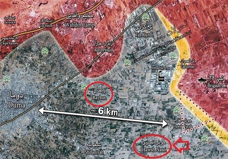 """القوات السوریة تتقدم فی الریحان بریف دمشق و """"جیش الإسلام"""" یستشعر الخطر"""