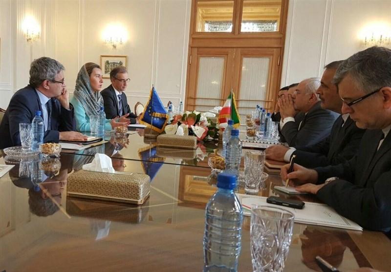 بدء الاجتماع المشترک بین ظریف وموغرینی ووزراء الترویکا الأوروبیة