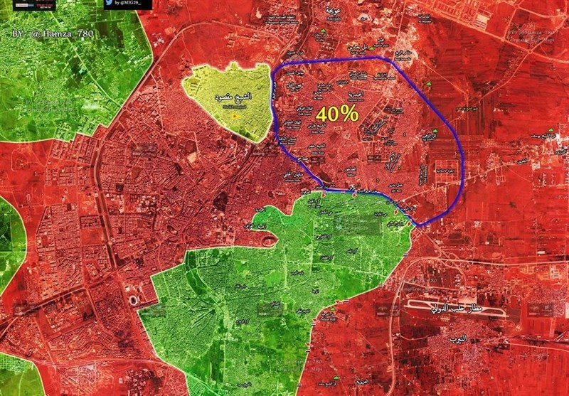 """الجیش السوری یمهد ناریا للدخول إلى حی """"الشعار"""" شرق حلب +صور"""