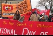تظاهرات بومیان در آمریکا در اعتراض به اشغال سرزمین و کشتار + فیلمها