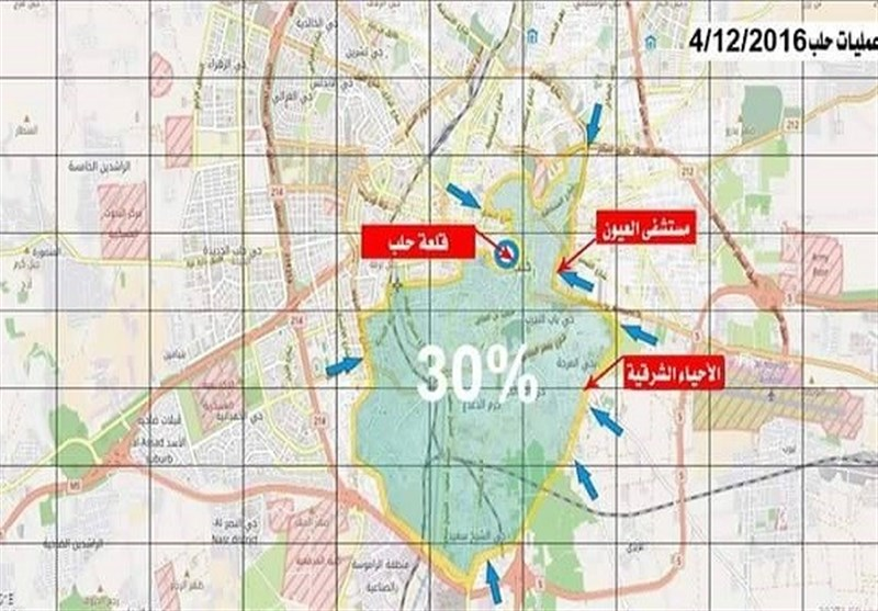 الجیش السوری یفتح محاور قتال جدیدة فی ماتبقى من أحیاء حلب الشرقیة