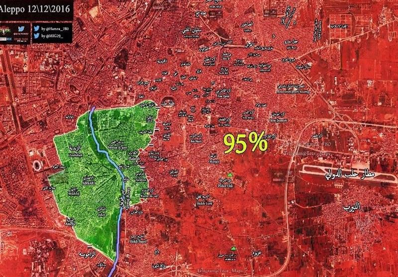 عودة العملیات العسکریة إلى شرق حلب .. 97 بالمئة بید الجیش