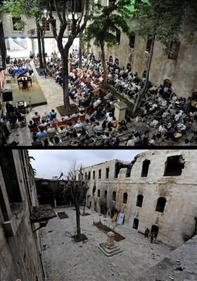 مدینة حلب قبل وبعد تدمیرها من قبل الإرهابیین