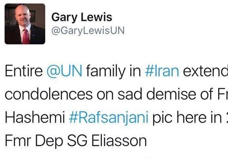نماینده سازمان ملل در ایران درگذشت آیتالله هاشمی رفسنجانی را تسلیت گفت + تصویر