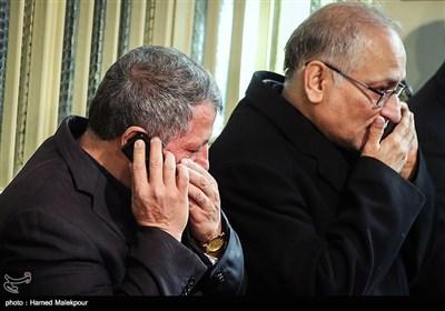 حسین مرعشی و محسن هاشمی در مراسم وداع با پیکر آیت الله اکبر هاشمی رفسنجانی - حسینیه جماران
