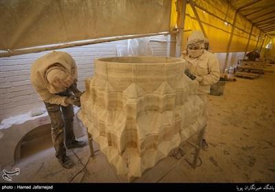 ساخت سنگ های دیوار،کف و ستون های صحن حضرت فاطمه زهرا سلام الله علیها در نجف اشرف