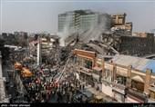 مهار آتش در ساختمان پلاسکو تهران