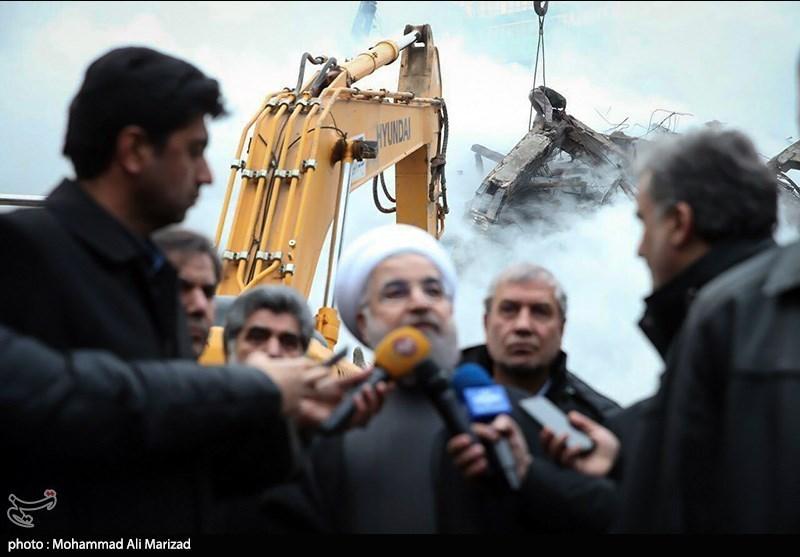 Ruhani Plasco Enkazını Kaldırma Çalışmalarını İnceleyerek Açıklama Yaptı