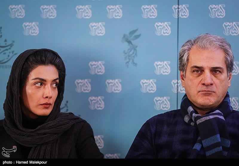 ناصر هاشمی و لیلا زارع بازیگران فیلم خانه دیگری در نشست خبری - سیوپنجمین جشنواره فیلم فجر