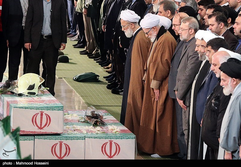 Funeral Held in Tehran for Martyred Firemen (+Photos)