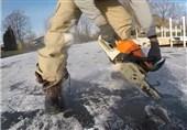 فیلم/شکارچی و شکار هر دو در دام یخ