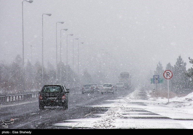بارش برف در تفت یزد