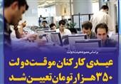 فتوتیتر/عیدی کارکنان موقت دولت 350 هزار تومان