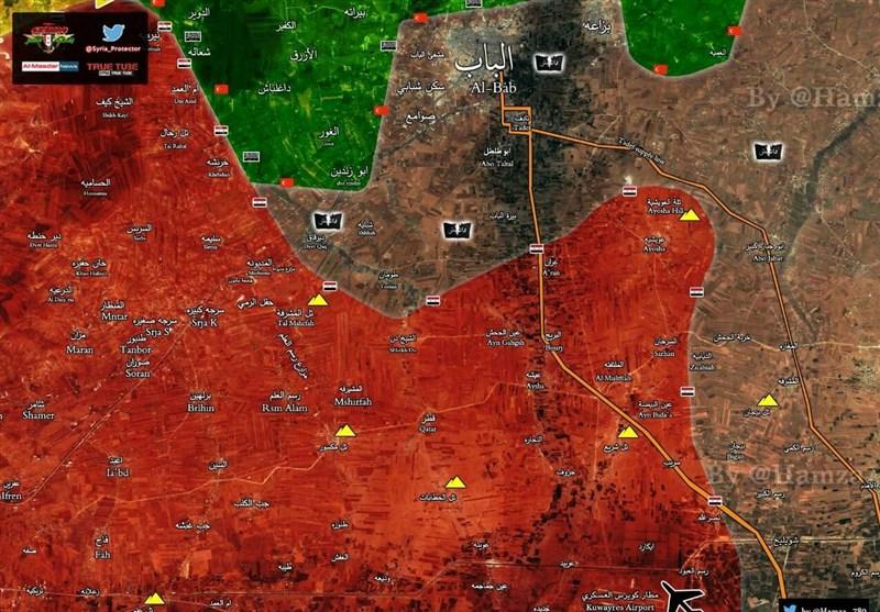 """الجیش السوری یحاصر """"داعش"""" فی """"الباب"""" شمالاً ویسیطر على نقطة استراتیجیة شرق حمص + خرائط"""