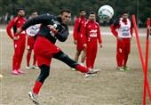 تمرین با توپ آسیایی و رفع مصدومیت مدافع چپ سرخپوشان