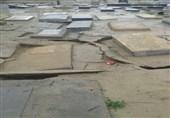 عکس/تخریب قبرستان توسط سیل