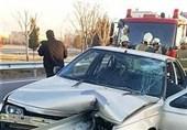 تصادف پژو 405 با گاردریل
