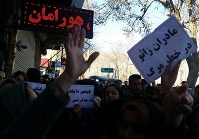 تجمع اعتراضی مردم مریوان به مرگ مادر جوان پس از عمل سزارین