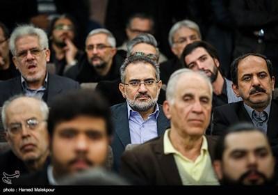 سیدمحمد حسینی وزیر اسبق فرهنگ و ارشاد اسلامی در مراسم یادبود زندهیاد علی معلم