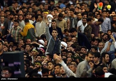 صحن حرم مطهر رضوی قبل از سخنرانی رهبر معظم انقلاب