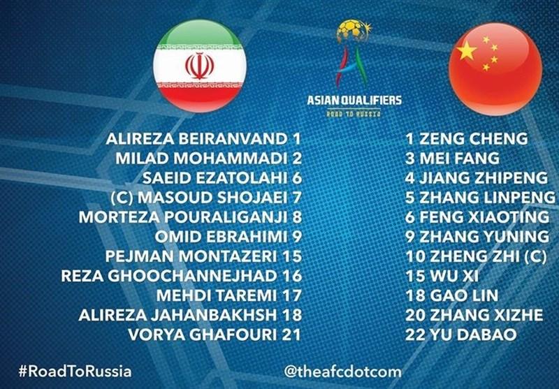 شوط المباراة الأول بین ایران والصین ینتهی بالتعادل السلبی