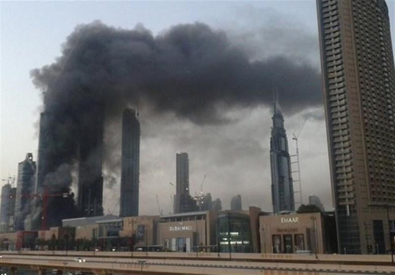 آتشسوزی مهیب آسمانخراش در نزدیکی بزرگترین مرکز خرید دبی+فیلم و عکس