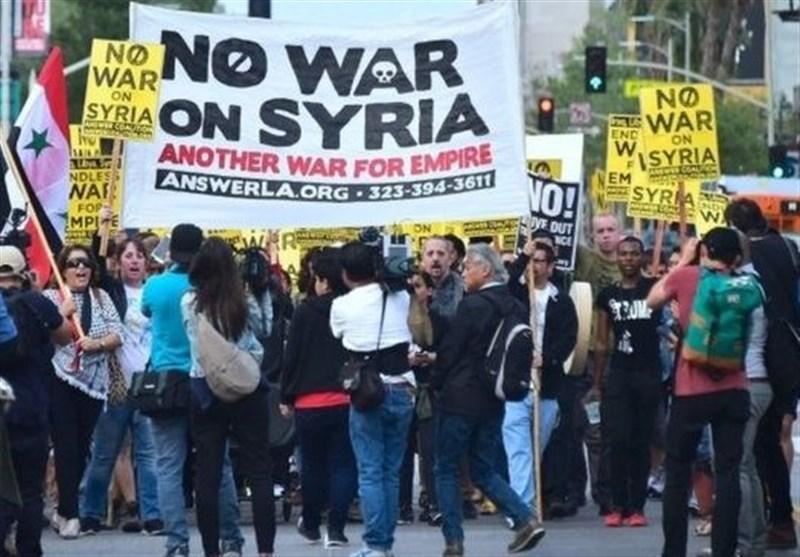 شام پر امریکی حملوں کے خلاف، امریکہ میں، امریکیوں کا احتجاج / تصویری رپورٹ