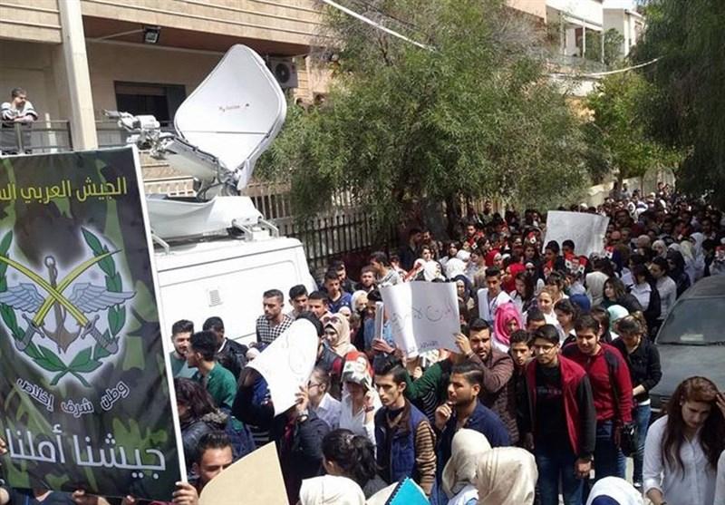 """شامی طلباء کے """"امریکہ مردہ باد"""" نعروں کیساتھ مظاہرے/ تصویری رپورٹ"""