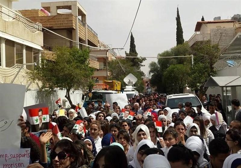 دانشجویان سوری تظاهرات ضد امریکایی