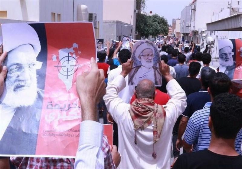 بحرین میں آیت الله شیخ عیسی قاسم کی حمایت میں انکی رہائشگاہ کے سامنے مظاہرے + تصاویر