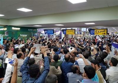 استقبال مردمی از سید ابراهیم رئیسی در فرودگاه اصفهان
