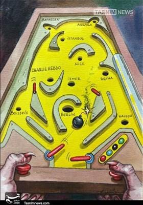 کاریکاتور/ آمریکا شیطانبزرگ و حامیتروریست