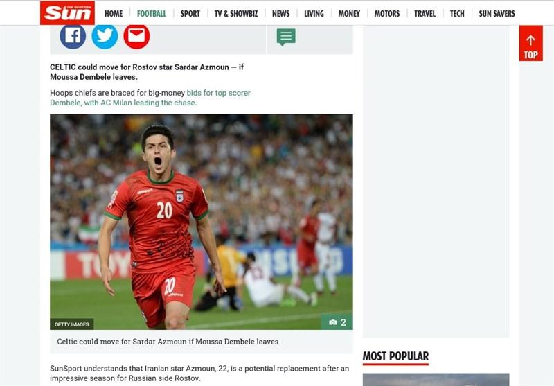Celtic Ready to Move for Iran's Sardar Azmoun: Report