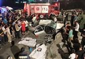 تصاویر/ برخورد پژو 405 با دیواره حاشیه بزرگراه بابایی با 2 کشته و 3 زخمی