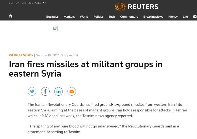بازتاب حمله موشکی سپاه به تروریست ها در رسانه های جهان/سکوت معنادار سعودی ها