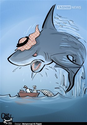 کاریکاتور/ کوسه سعودی و صیاد!!!