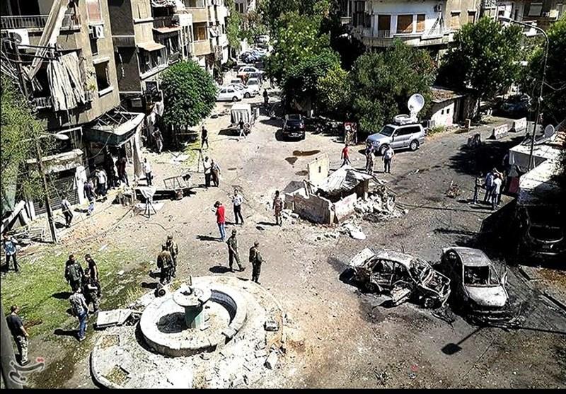 مراسل تسنیم یؤکد سقوط 19 قتیلا على الاقل فی تفجیرات دمشق+ صور