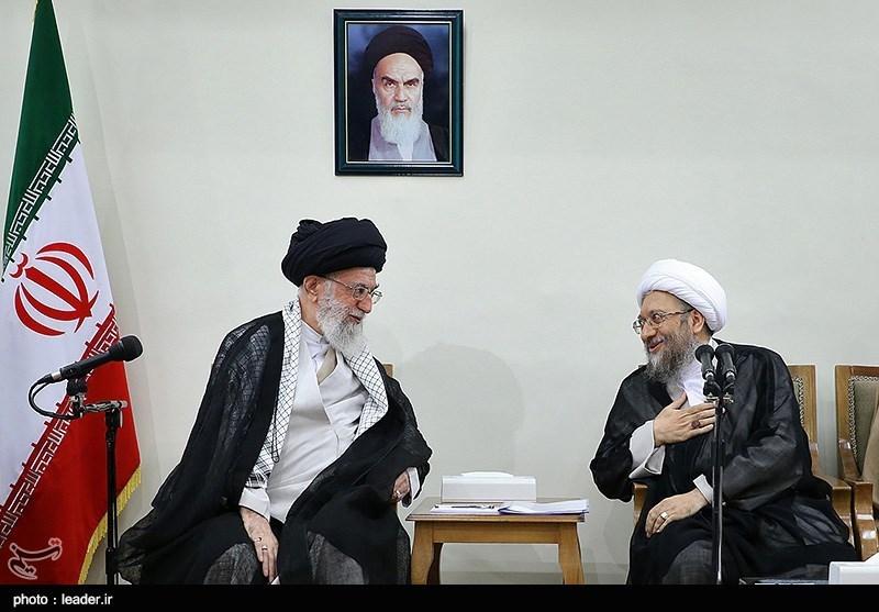 الامام الخامنئی یستقبل رئیس ومسؤولی السلطة القضائیة