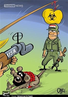 کاریکاتیر: الطابع السیاسی لقضیة الکیماوی فی سوریا