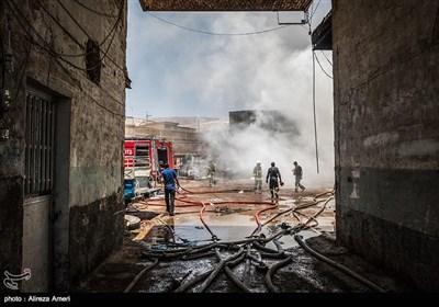 آتش سوزی در انبار لاستیک - شیراز